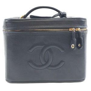 Cc Train Case Vanity Beauty Caviar Leather Clutch